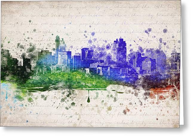 Cincinnati Skyline Greeting Cards - Cincinnati in Color Greeting Card by Aged Pixel