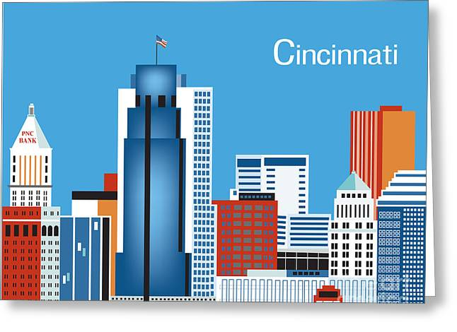 City Skylines Greeting Cards Greeting Cards - Cincinnati Ohio Horizontal Wall Art by Loose Petals Greeting Card by Karen Young