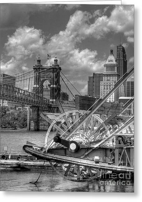 Steamboat Greeting Cards - Cincinnati Landmarks 1 BW Greeting Card by Mel Steinhauer
