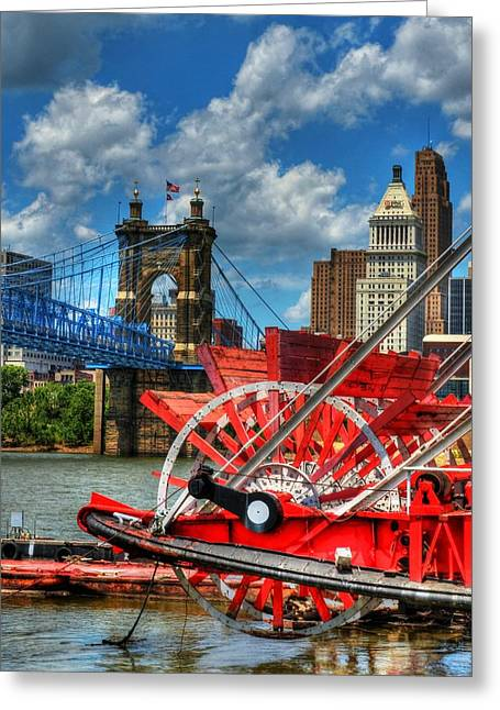 Paddle Wheel Greeting Cards - Cincinnati Landmarks 1 Greeting Card by Mel Steinhauer
