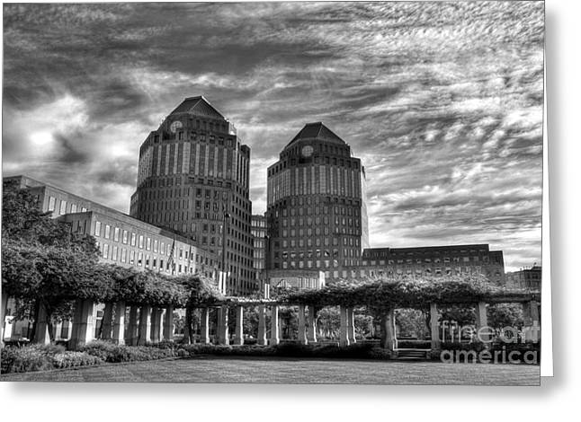 P-g Greeting Cards - Cincinnati Landmarks 6 BW Greeting Card by Mel Steinhauer