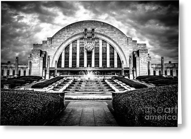 American Art Museum Greeting Cards - Cincinnati Museum Center Black and White Picture Greeting Card by Paul Velgos