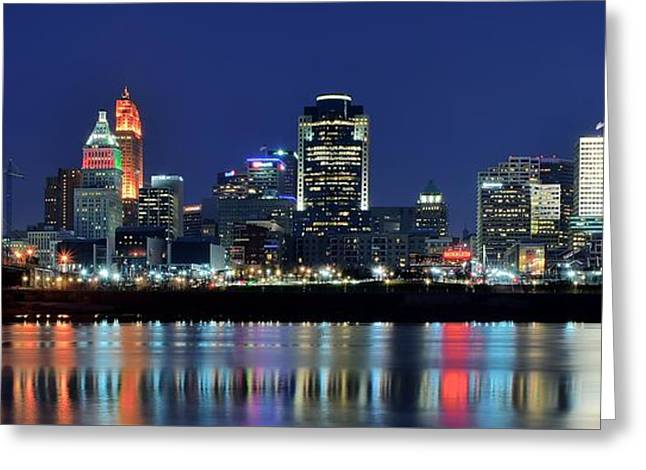 Metropolitan Greeting Cards - Cincinnati Ohio at Night Greeting Card by Frozen in Time Fine Art Photography
