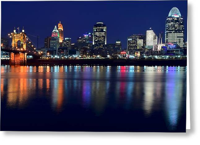 Tower Crane Greeting Cards - Cincinnati Ohio Blue Hour Greeting Card by Frozen in Time Fine Art Photography