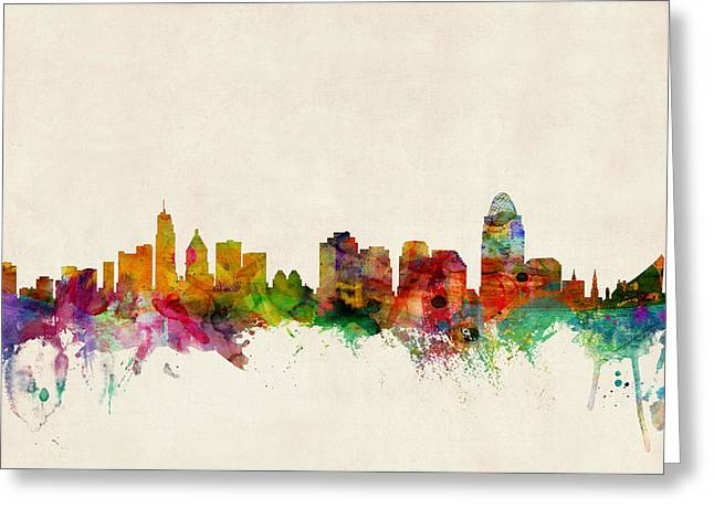 Silhouettes Digital Art Greeting Cards - Cincinnati Ohio Skyline Greeting Card by Michael Tompsett