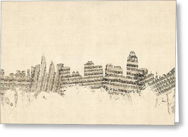 Cincinnati Ohio Skyline Sheet Music Cityscape Greeting Card by Michael Tompsett
