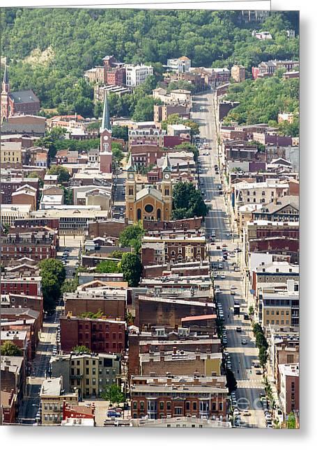 Historic Neighborhood Greeting Cards - Cincinnati Over The Rhine Aerial Photo Greeting Card by Paul Velgos