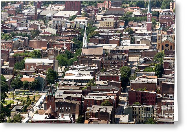 Church Photos Greeting Cards - Cincinnati Over The Rhine Neighborhood Aerial Photo Greeting Card by Paul Velgos