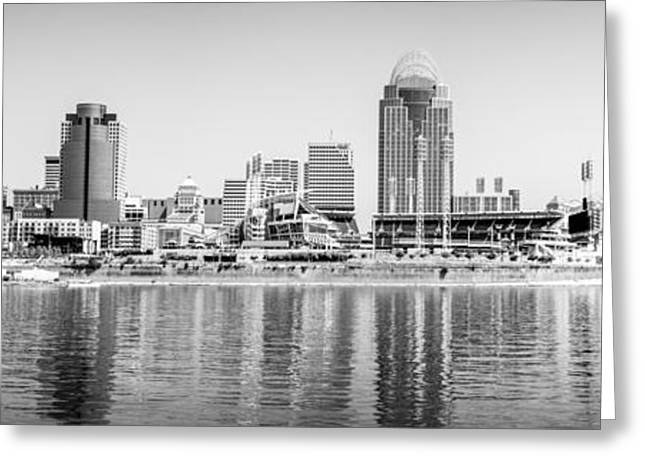 Ohio River Photographs Greeting Cards - Cincinnati Panorama Black and White Picture Greeting Card by Paul Velgos