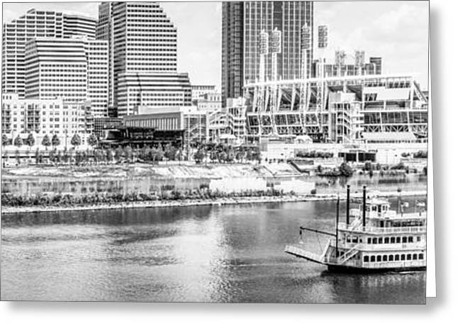 Riverboats Greeting Cards - Cincinnati Panoramic Picture in Black and White Greeting Card by Paul Velgos