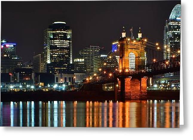 Light And Dark Greeting Cards - Cincinnati Panoramic View Greeting Card by Frozen in Time Fine Art Photography