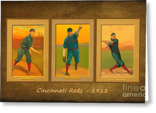 Baseball Art Greeting Cards - Cincinnati Reds 1911 Greeting Card by Lianne Schneider