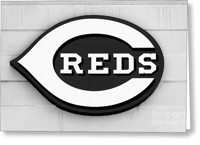 Cincinnati Reds Sign Black And White Picture Greeting Card by Paul Velgos