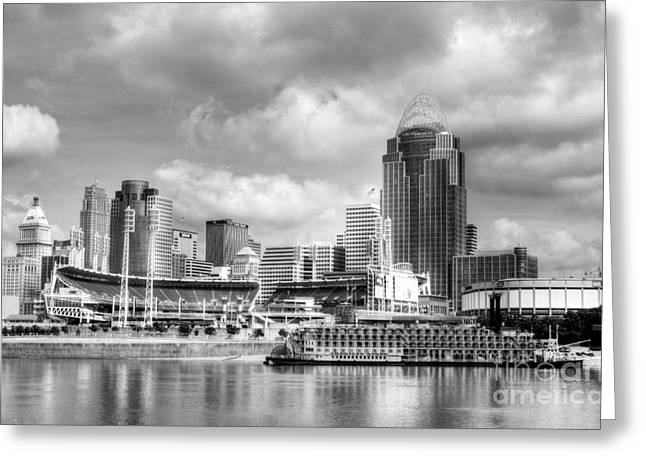 Baseball Photographs Greeting Cards - Cincinnati River Days 2 BW Greeting Card by Mel Steinhauer