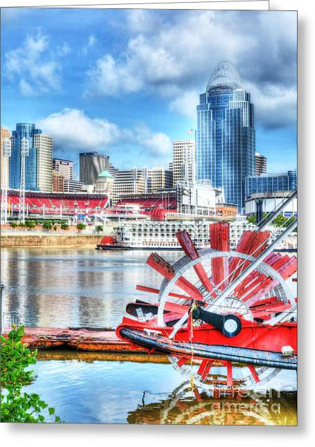 Steamboat Greeting Cards - Cincinnati River Days Greeting Card by Mel Steinhauer