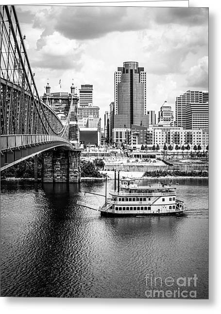 Riverboats Greeting Cards - Cincinnati Riverfront Black and White Picture Greeting Card by Paul Velgos