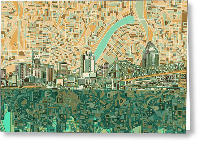 Abstract Map Greeting Cards - Cincinnati Skyline Abstract 2 Greeting Card by MB Art factory