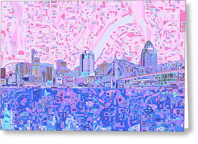 Abstract Map Greeting Cards - Cincinnati Skyline Abstract Greeting Card by MB Art factory