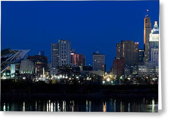 River Photography Greeting Cards - Cincinnati Skyline And John A. Roebling Greeting Card by Panoramic Images