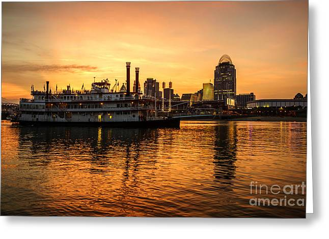 Riverboats Greeting Cards - Cincinnati Skyline and Riverboat at Sunset Greeting Card by Paul Velgos