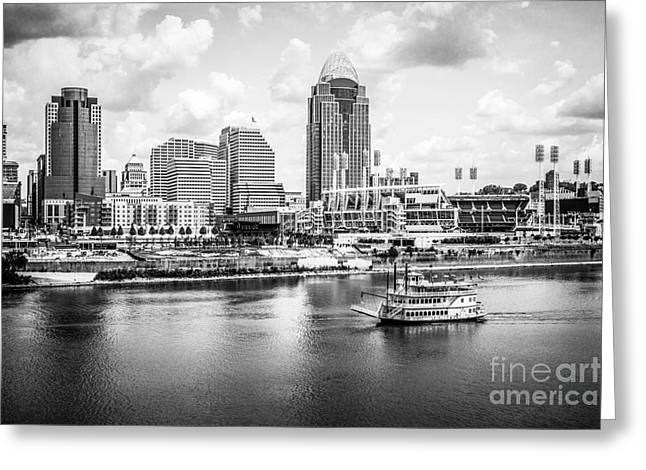 Riverboats Greeting Cards - Cincinnati Skyline and Riverboat Black and White Picture Greeting Card by Paul Velgos