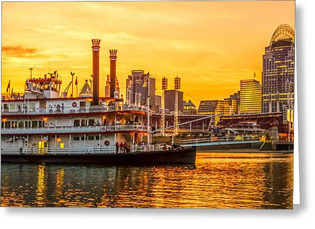Riverboats Greeting Cards - Cincinnati Skyline and Riverboat Panorama Photo Greeting Card by Paul Velgos