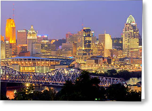Night Scenes Photographs Greeting Cards - Cincinnati Skyline at Dusk Sunset Color Panorama Ohio Greeting Card by Jon Holiday