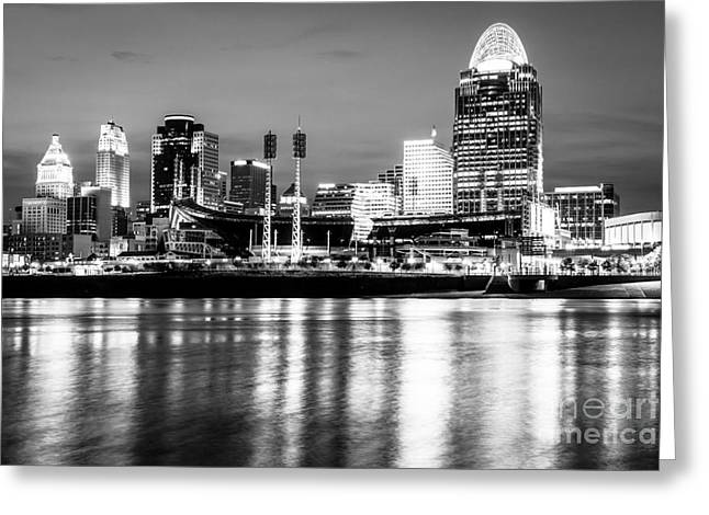 Riverfront Greeting Cards - Cincinnati Skyline at Night Black and White Picture Greeting Card by Paul Velgos