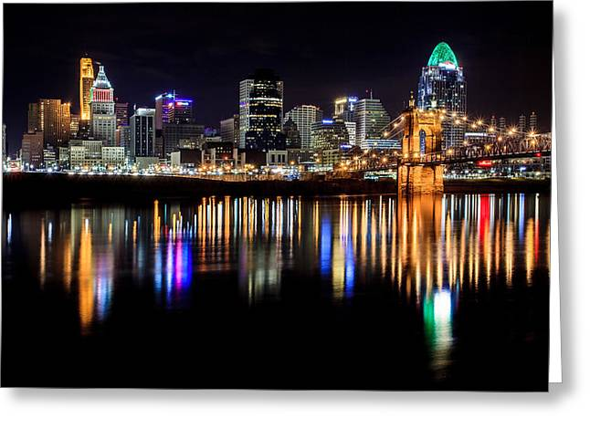 Golds Greeting Cards - Cincinnati Skyline in Christmas colors Greeting Card by Keith Allen