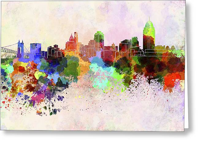 Color Splash Greeting Cards - Cincinnati skyline in watercolor background Greeting Card by Pablo Romero