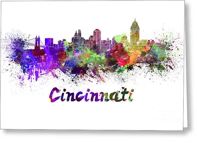 Cincinnati Skyline In Watercolor Greeting Card by Pablo Romero