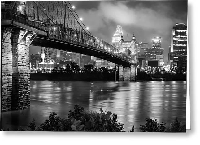 Cincinnati Skyline - John Roebling Bridge and Ohio River Greeting Card by Gregory Ballos