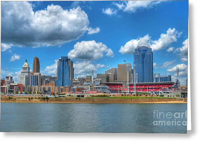 Baseball Art Greeting Cards - Cincinnati Skyline Greeting Card by Mel Steinhauer
