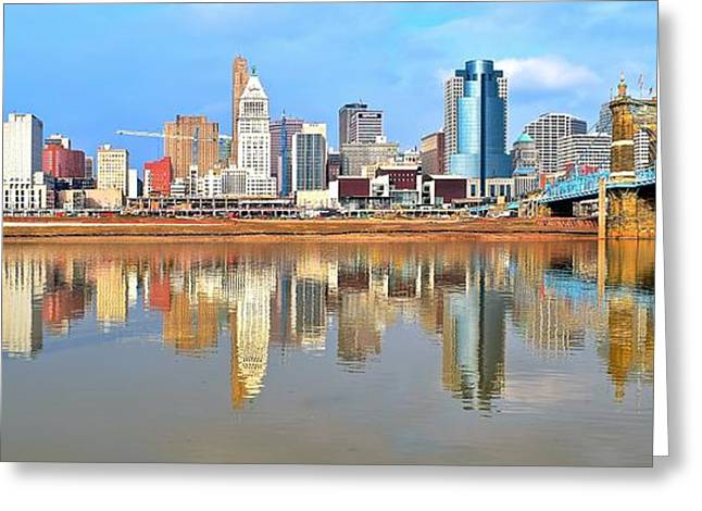 Inner Reflections Greeting Cards - Cincinnati Skyline Panoramic Greeting Card by Frozen in Time Fine Art Photography