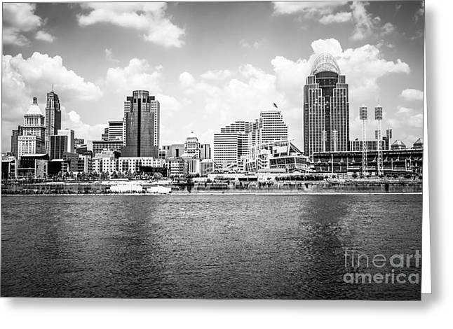 Cincinnati Skyline Photo In Black And White Greeting Card by Paul Velgos