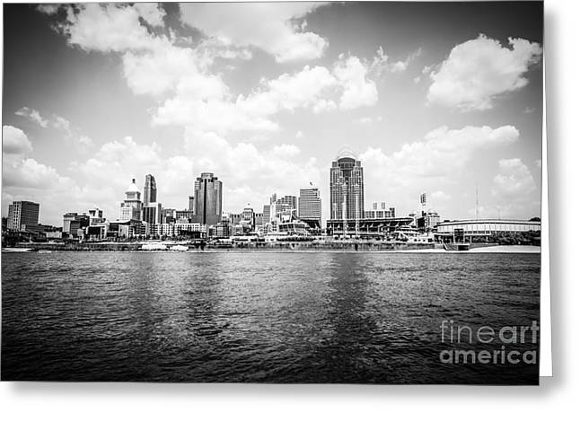 Cincinnati Skyline Riverfront Black And White Picture Greeting Card by Paul Velgos