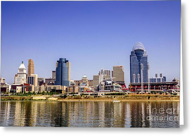 Ohio River Photographs Greeting Cards - Cincinnati Skyline Riverfront Downtown Office Buildings Greeting Card by Paul Velgos