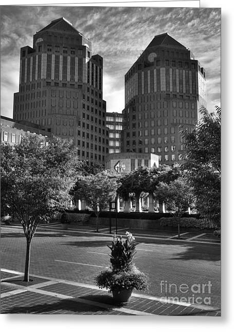 P-g Greeting Cards - Cincinnati Street Scenes bw Greeting Card by Mel Steinhauer
