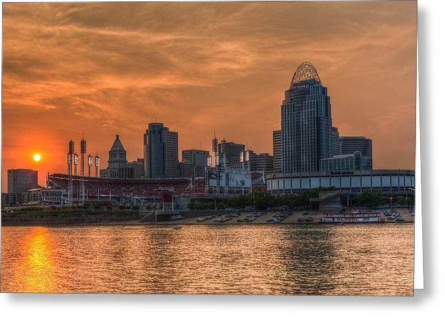 Baseball Stadiums Digital Greeting Cards - Cincinnati Sunset Greeting Card by David Long