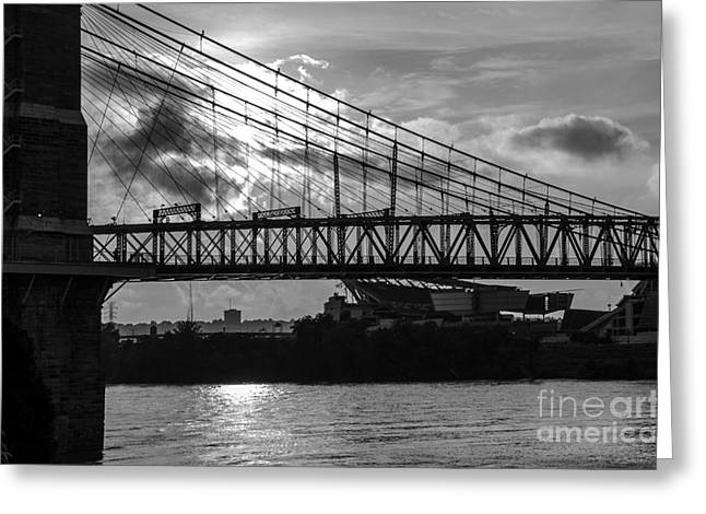 A Summer Evening Greeting Cards - Cincinnati Suspension Bridge Black and White Greeting Card by Mary Carol Story