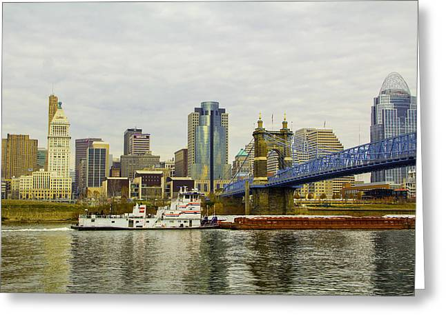 Barges Greeting Cards Greeting Cards - Cincinnati Tug Boat Greeting Card by Michael J Samuels