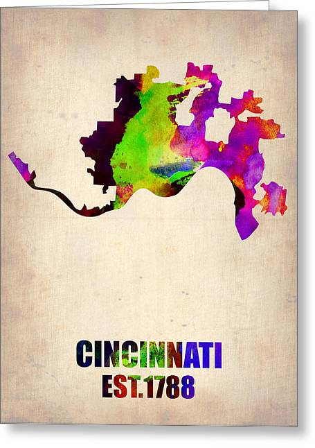 Usa City Map Greeting Cards - Cincinnati Watercolor Map Greeting Card by Naxart Studio