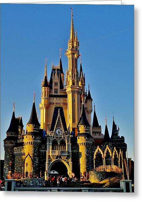 Cinderellas Castle Greeting Cards - Cinderella Castle Sunset Greeting Card by Benjamin Yeager