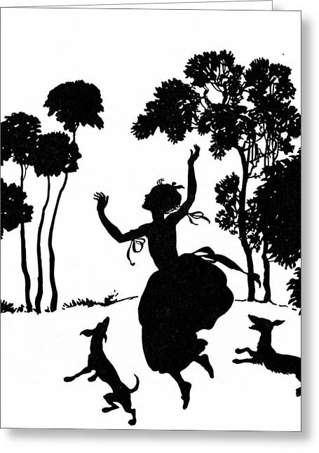 Fetch Greeting Cards - Cinderella Playing with her Dogs Greeting Card by Arthur Rackham