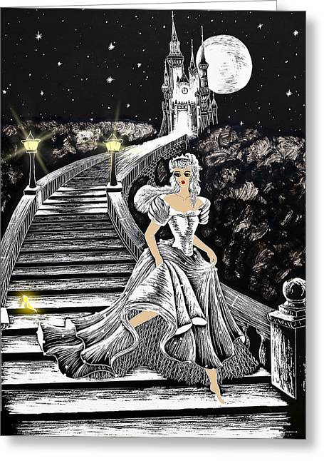 Fine Mixed Media Greeting Cards - Cinderella Greeting Card by Svetlana Sewell