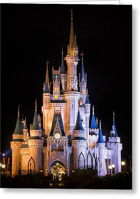 Park Lights Greeting Cards - Cinderellas Castle in Magic Kingdom Greeting Card by Adam Romanowicz