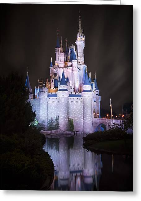 Theme Parks Greeting Cards - Cinderellas Castle Reflection Greeting Card by Adam Romanowicz