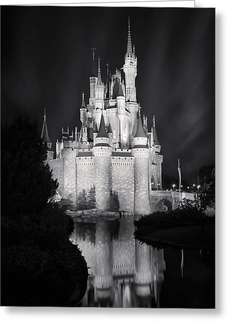 Walt Disney World Greeting Cards - Cinderellas Castle Reflection Black and White Greeting Card by Adam Romanowicz
