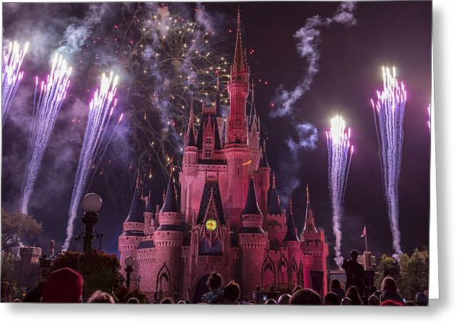 Amusements Greeting Cards - Cinderellas Castle with Fireworks Greeting Card by Adam Romanowicz