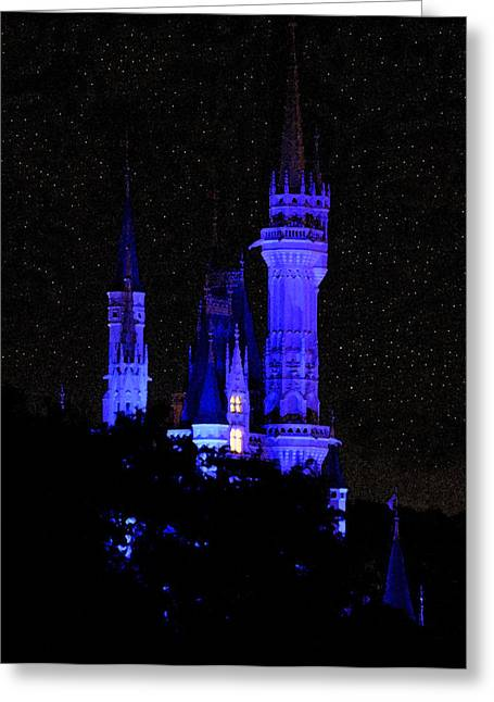 Cinderellas Castle Greeting Cards - Cinderellas Night Greeting Card by David Lee Thompson